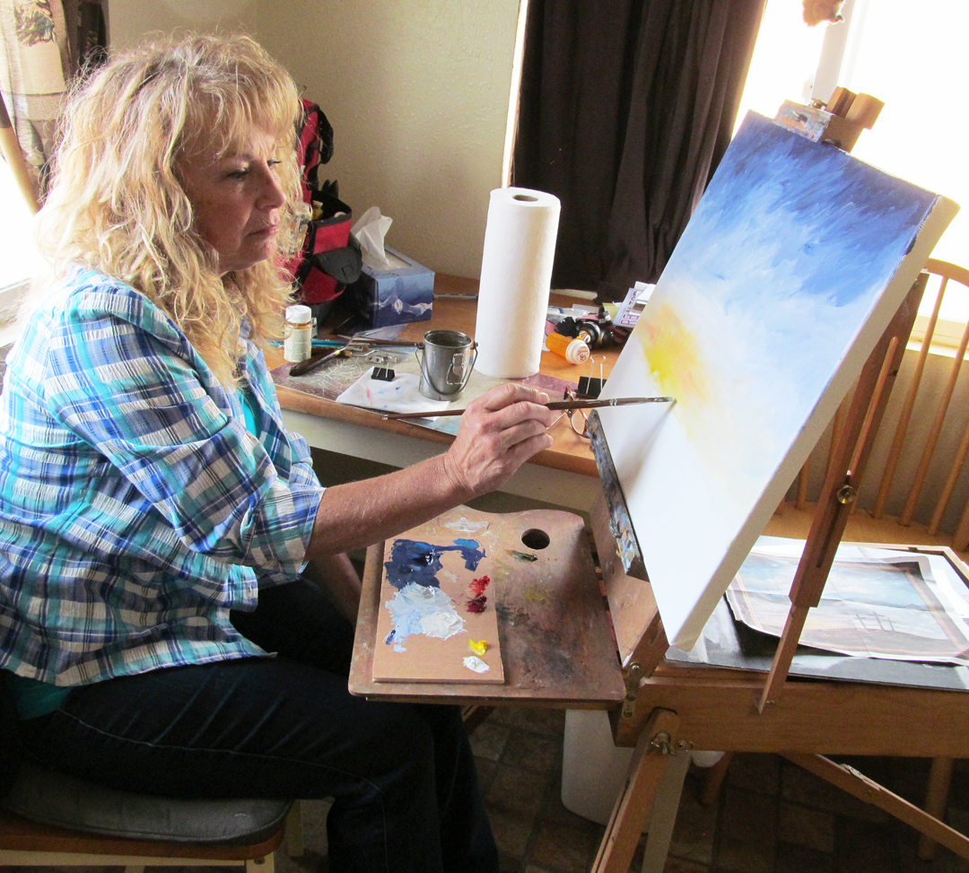geri working on painting