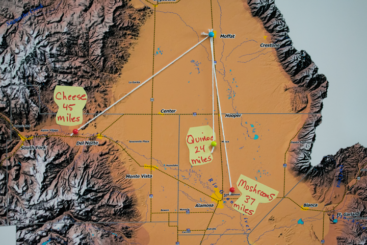 San Luis Valley map shows the distances of each Harvest of the Month sample from its respective farm.